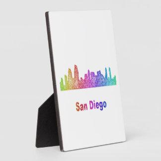 Rainbow San Diego skyline Photo Plaque