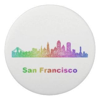 Rainbow San Francisco skyline Eraser