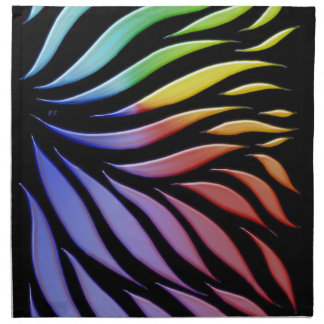 Rainbow Scribble Funky Black Napkin