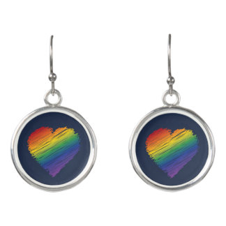 Rainbow scribble heart dangly earrings