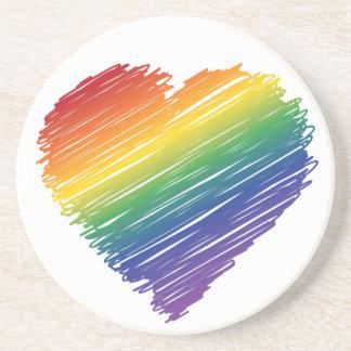 Rainbow scribble heart round stone coaster