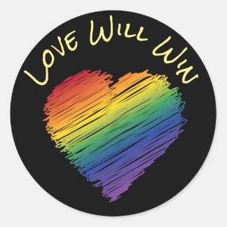Rainbow scribble heart sticker