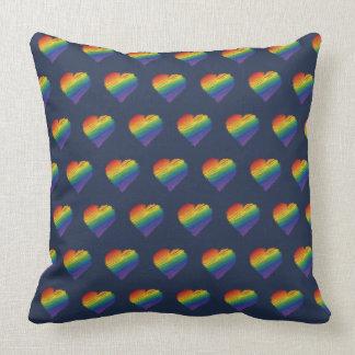 Rainbow scribble heart throw pillow