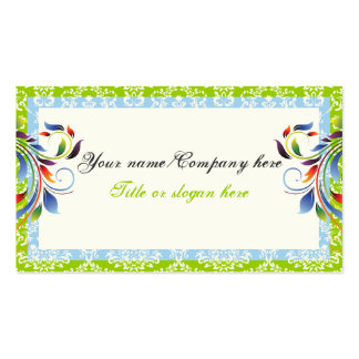 Rainbow scroll leaf blue green damask borders business card template