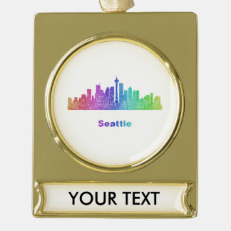 Rainbow Seattle skyline Gold Plated Banner Ornament