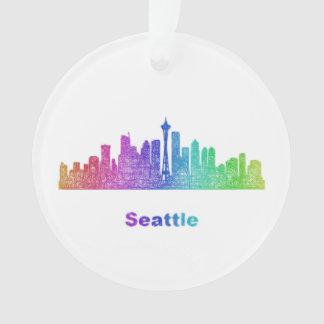 Rainbow Seattle skyline Ornament