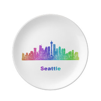 Rainbow Seattle skyline Porcelain Plates