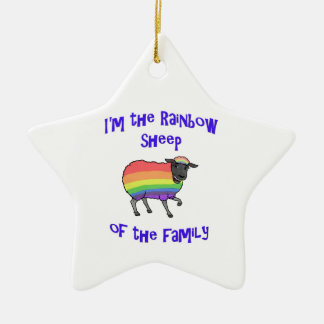 Rainbow Sheep of the Family Ceramic Ornament