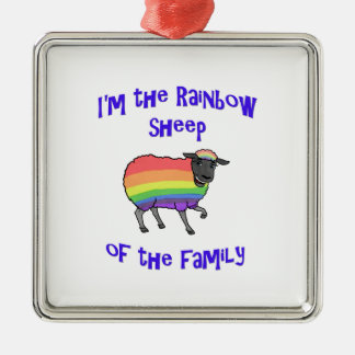 Rainbow Sheep of the Family Metal Ornament