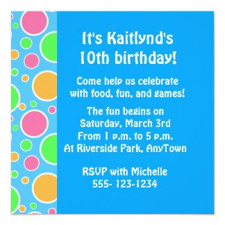 "Rainbow Sherbet Polka Dots 5.25"" Square Invitation Card"