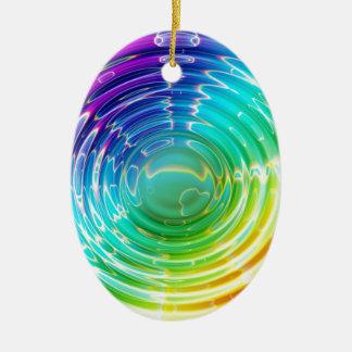 Rainbow Shockwave Ceramic Oval Decoration