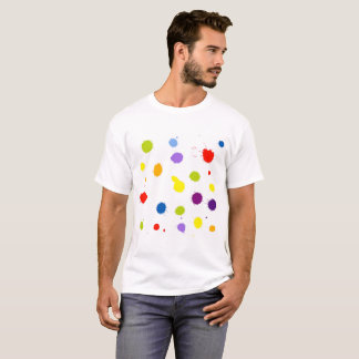 rainbow silhouette spot with droplets, smudges, st T-Shirt