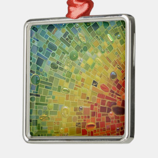 Rainbow Silver-Colored Square Decoration