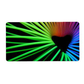 rainbow slinky heart sticker shipping label