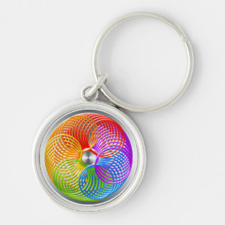 Rainbow Slinky Ring Silver-Colored Round Key Ring
