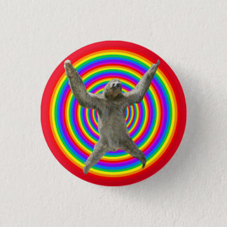 Rainbow Sloth 3 Cm Round Badge