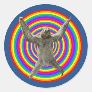 Rainbow Sloth Round Sticker