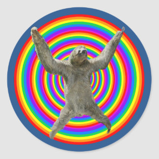Rainbow Sloth Round Sticker