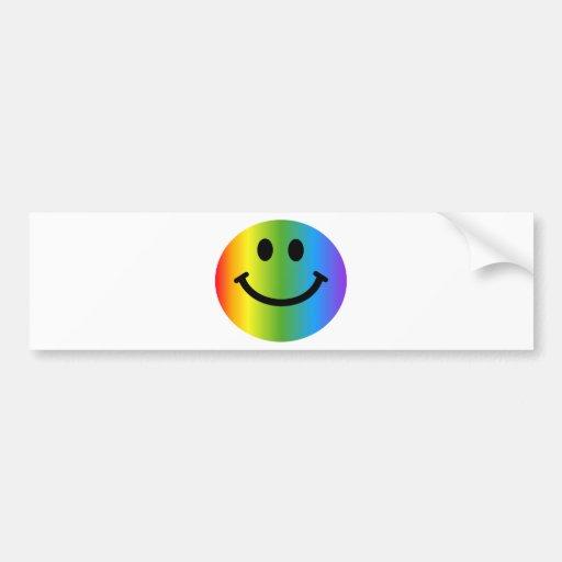 Rainbow Smiley Bumper Sticker