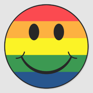 Rainbow Smiley Classic Round Sticker