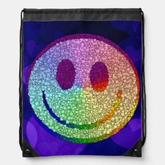 Rainbow Smiley Drawstring Bag