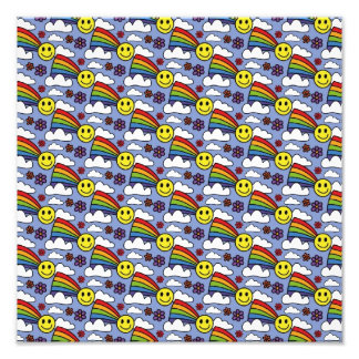 Rainbow Smiley Face and Flowers Hippie Pattern Art Photo