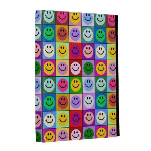 Rainbow smiley face squares iPad folio cover