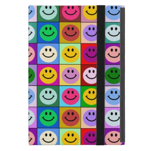 Rainbow smiley face squares covers for iPad mini