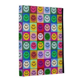 Rainbow smiley face squares iPad folio covers