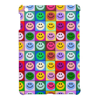 Rainbow smiley face squares iPad mini covers