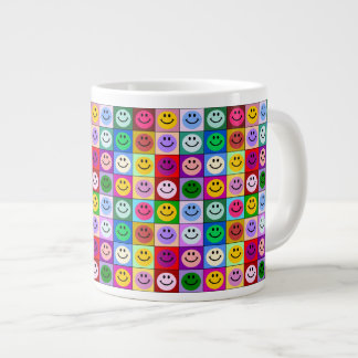 Rainbow smiley face squares large coffee mug