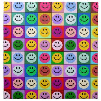 Rainbow smiley face squares napkin