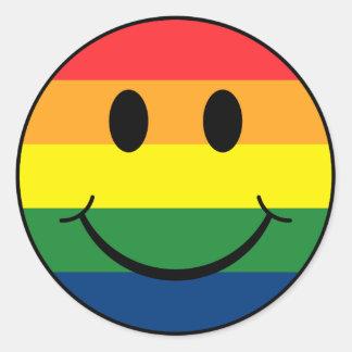 Rainbow Smiley Round Sticker