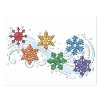 Rainbow Snow Flakes Postcard