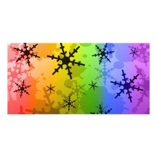 Rainbow Snowflake Custom Photo Card