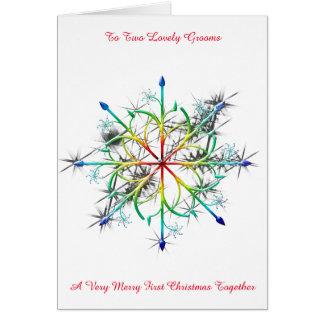 Rainbow Snowflake Gay Newly Wed First Christmas Greeting Card