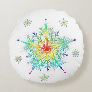 Rainbow Snowflake Ice Crystal Round Cushion