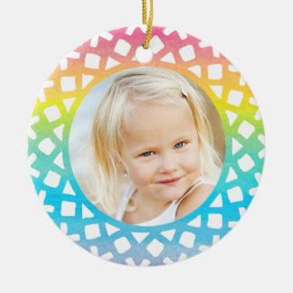Rainbow Snowflake Personalized Photo Ornament Ornaments