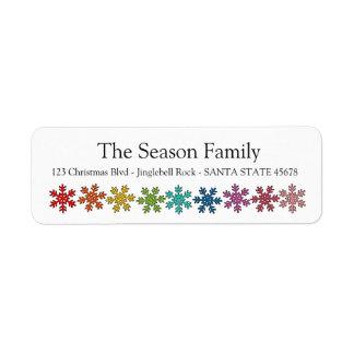 Rainbow snowflakes holiday label