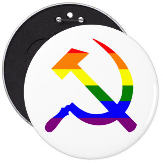 Rainbow Soviet Hammer And Sickle 6 Cm Round Badge