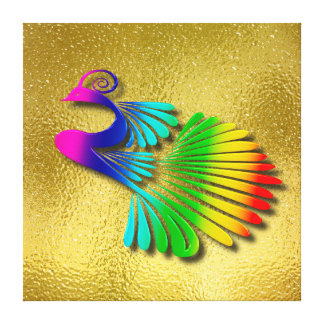 Rainbow Sparkling Peacock With Shadows Canvas Print