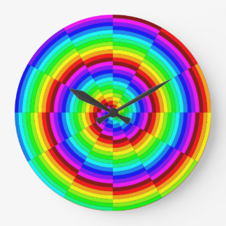 Rainbow Spiral by Kenneth Yoncich Large Clock