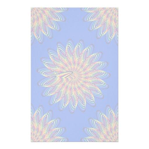 Rainbow Spiral Flower Design - Blue Background Stationery Paper