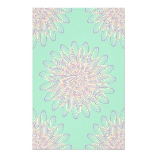 Rainbow Spiral Flower Design - Green Background Stationery Paper