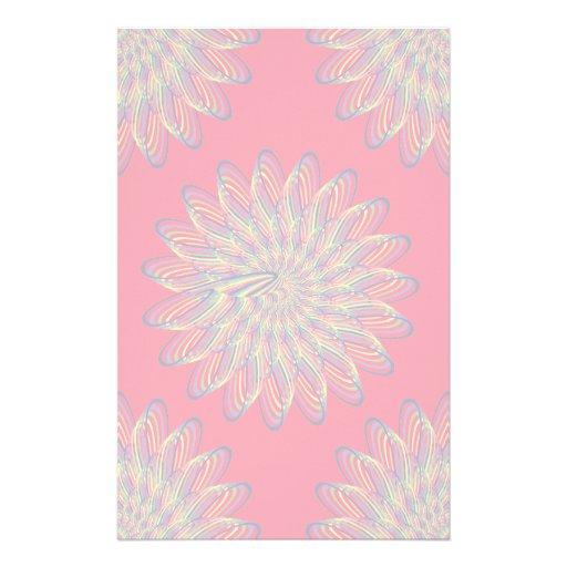 Rainbow Spiral Flower Design - Red Background Stationery Paper