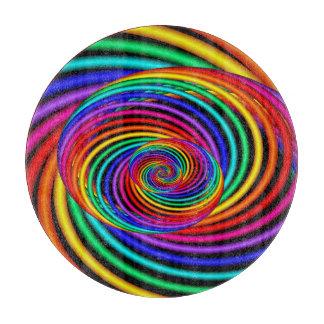 Rainbow Spiral Fractal Cutting Board