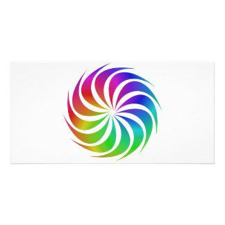 Rainbow spiral photo card