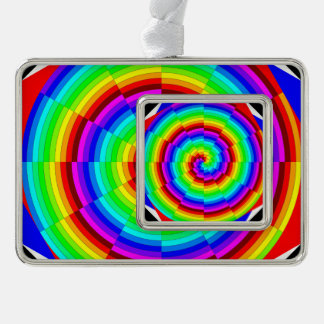 Rainbow Spiral Silver Plated Framed Ornament
