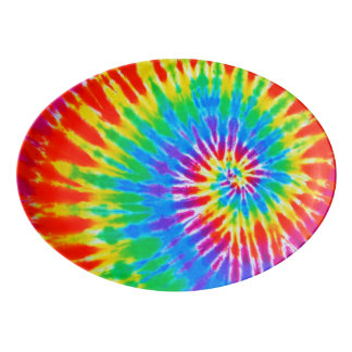 Rainbow Spiral Tie Dye Porcelain Serving Platter