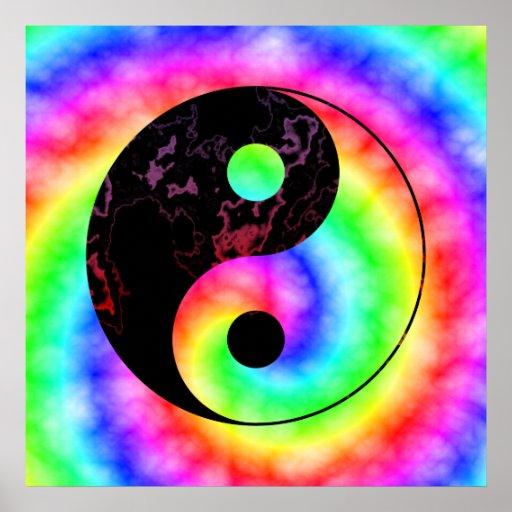 Rainbow Spiral Yin Yang Poster Zazzle Com Au